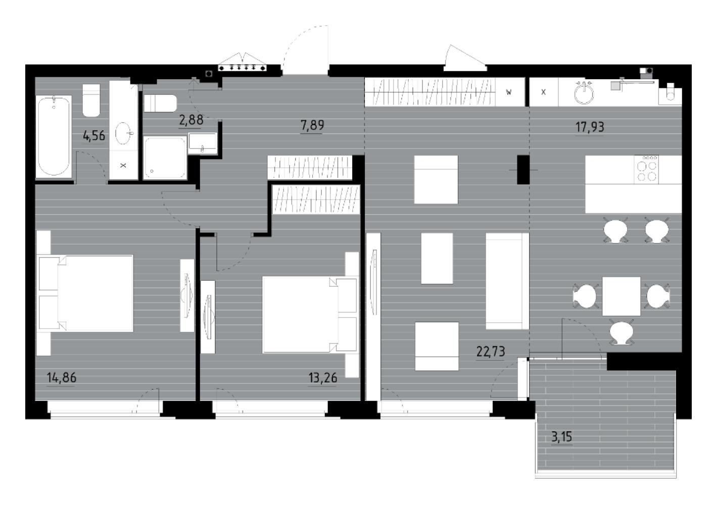 Трикімнатна квартира